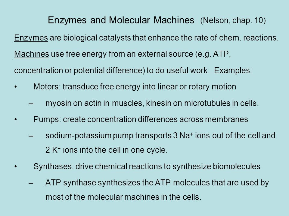 Enzymes An extreme example: catalese Consider the decomposition of hydrogen peroxide: H 2 O 2  H 2 O + ½ O 2  G 0 =  41 kT so the reaction is highly favoured but due to a high activation barrier it proceeds very slowly: for 1 M solution the rate is 10  8 M/s (reaction velocity) Adding 1 mM catalese into the solution increases the rate by 10 12 .