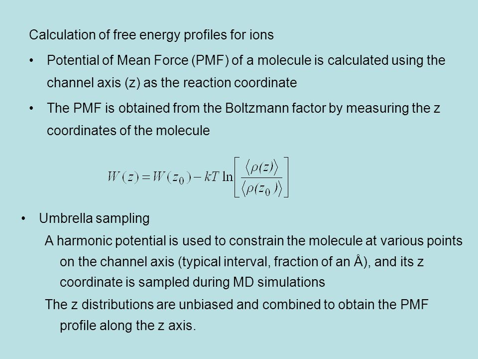 Free energy profiles (potential of mean force, PMF) of cations determined from umbrella sampling calculations