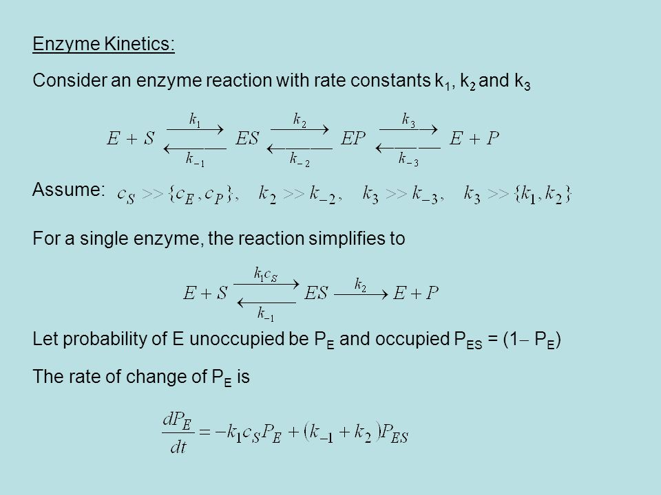 Assuming quasi-steady state, the time derivative vanishes, yielding Rate of production of P per enzyme: Reaction velocity for a concentration c E of enzymes Michaelis-Menten (MM) rule