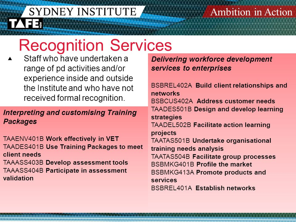 Ambition in Action www.sit.nsw.edu.au Recognition Services  Staff who have undertaken a range of pd activities and/or experience inside and outside the Institute and who have not received formal recognition.