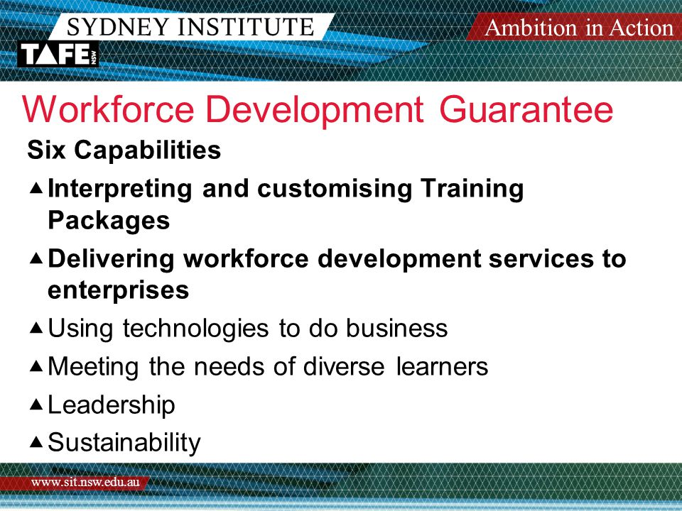 Ambition in Action www.sit.nsw.edu.au Workforce Development Guarantee Six Capabilities  Interpreting and customising Training Packages  Delivering workforce development services to enterprises  Using technologies to do business  Meeting the needs of diverse learners  Leadership  Sustainability