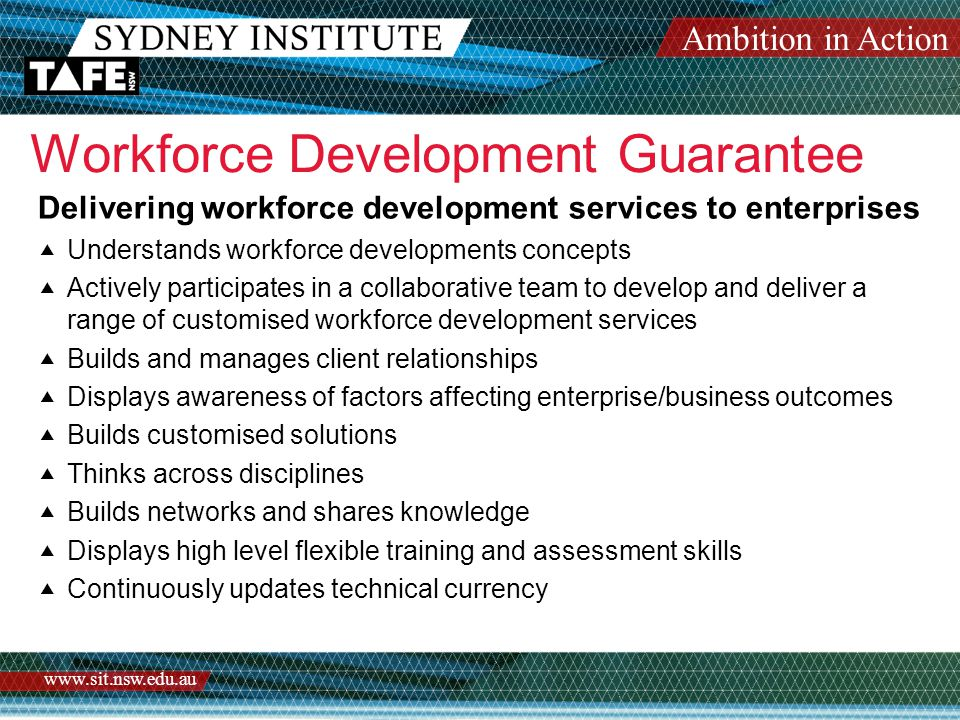 Ambition in Action www.sit.nsw.edu.au Workforce Development Guarantee – Sydney Institute  Workforce Services Program  Recognition Services  Upgrading Skills  Top Up Classes  PD Activities