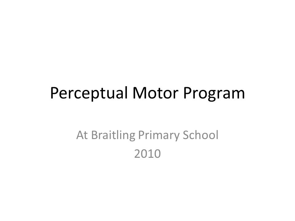 Perceptual Motor Program At Braitling Primary School 2010
