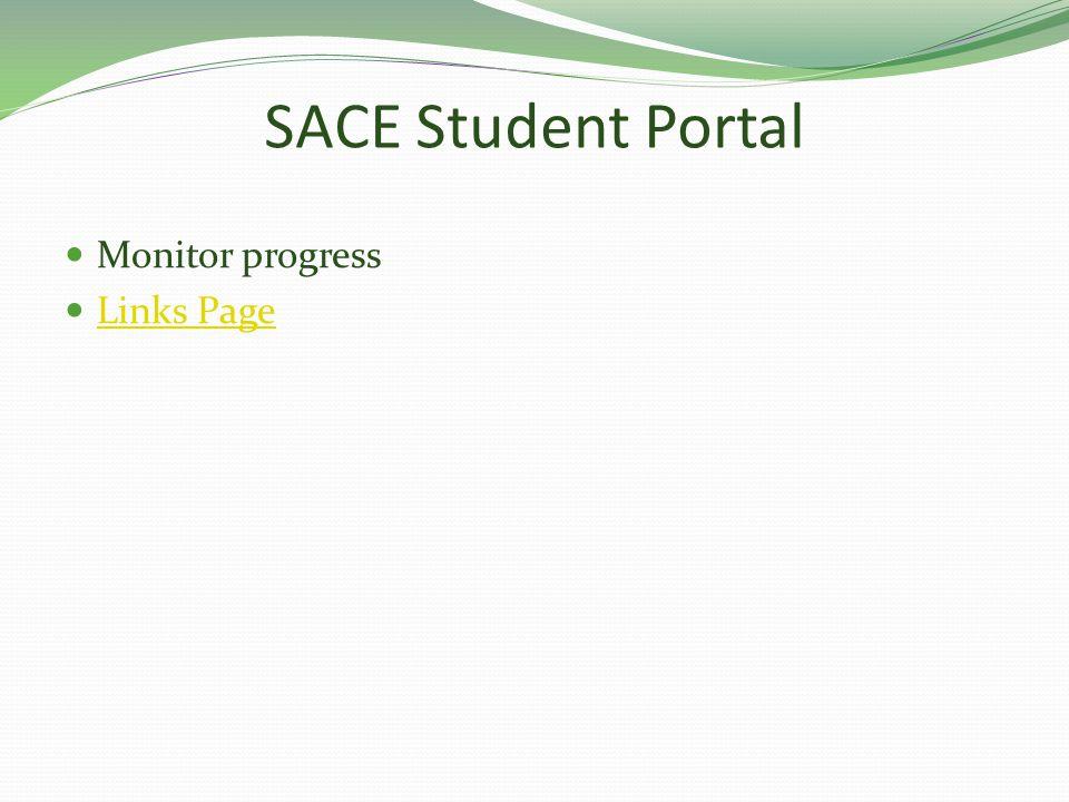 SACE Student Portal Monitor progress Links Page
