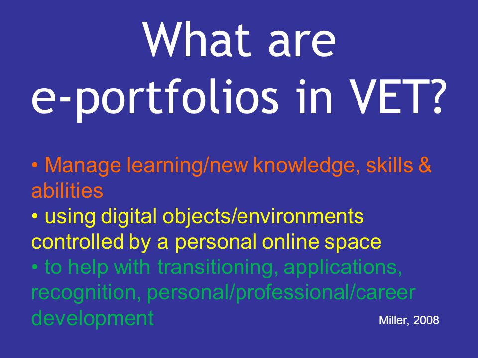 What are e-portfolios in VET.