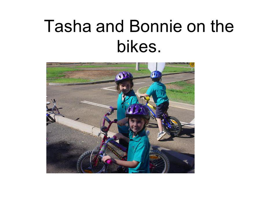 Tasha and Bonnie on the bikes.