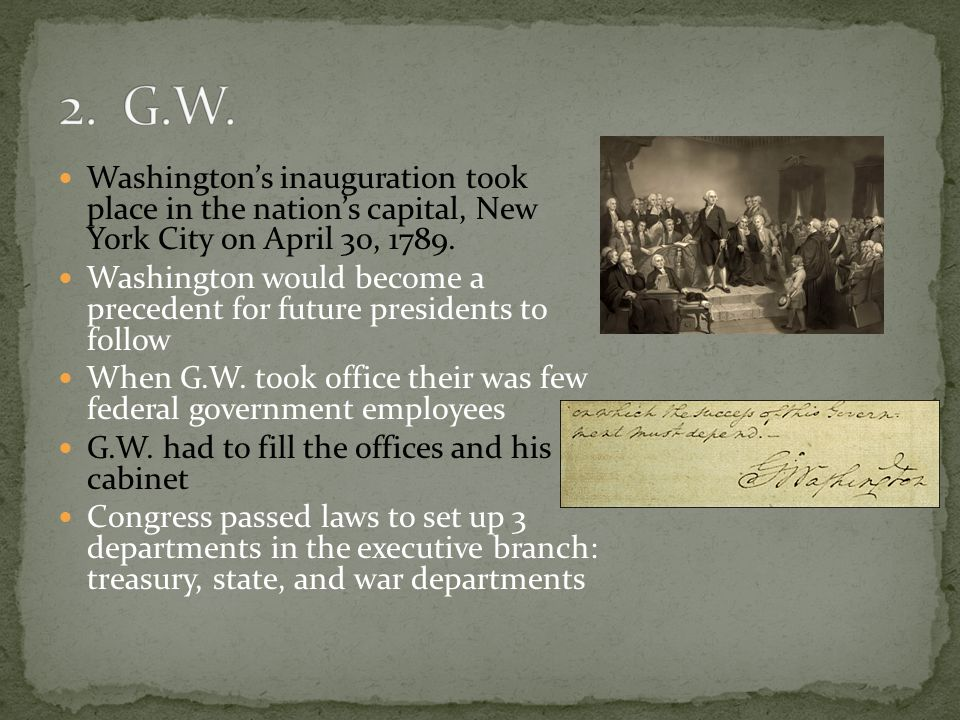 Washington's inauguration took place in the nation's capital, New York City on April 30, 1789.