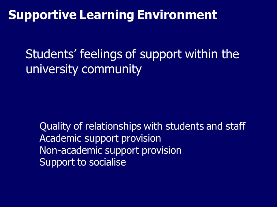 Supportive Learning Environment Students' feelings of support within the university community Quality of relationships with students and staff Academic support provision Non-academic support provision Support to socialise