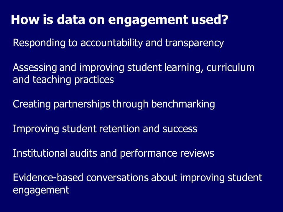 How is data on engagement used.