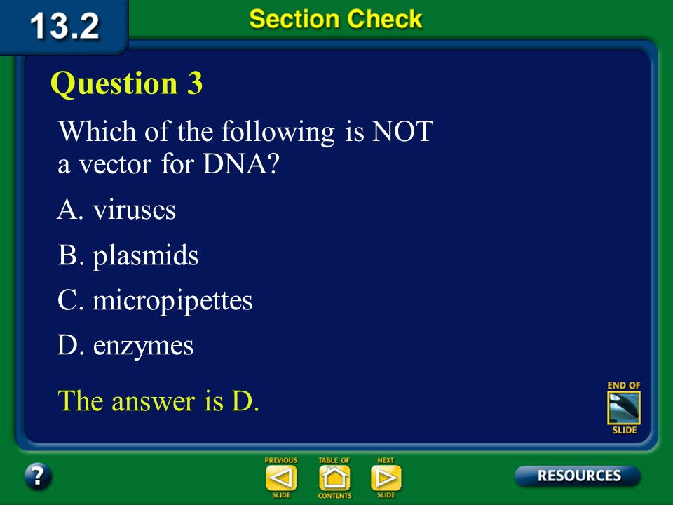 Section 2 Check The DNA from each organism must have sticky, not blunt, ends so it can combine with the DNA of the other organism and form recombinant DNA.