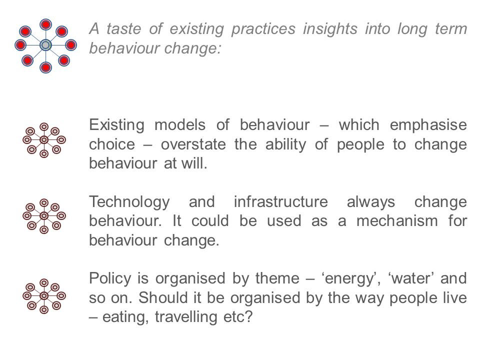 A taste of existing practices insights into long term behaviour change: Existing models of behaviour – which emphasise choice – overstate the ability of people to change behaviour at will.
