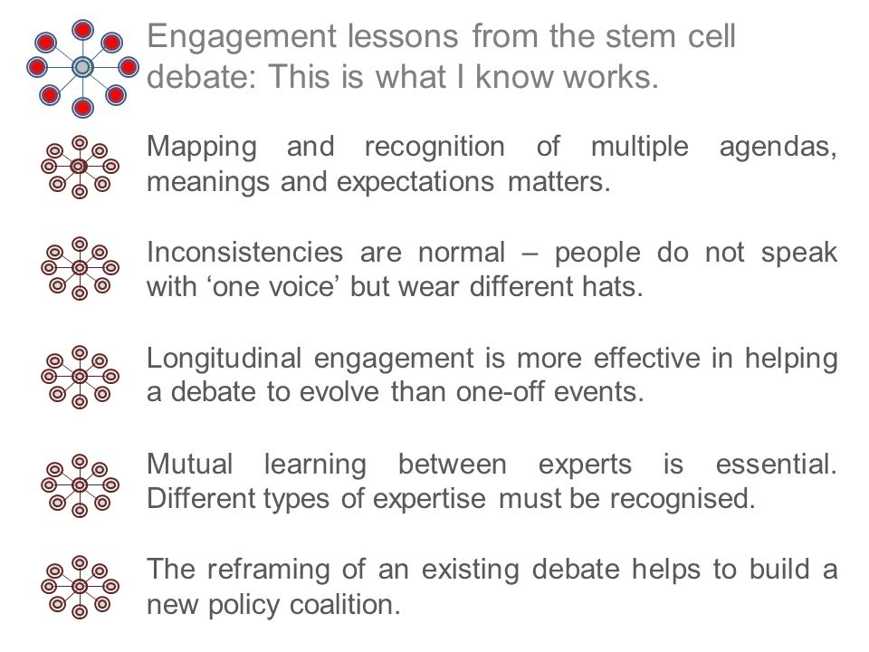 Engagement lessons from the stem cell debate: This is what I know works.