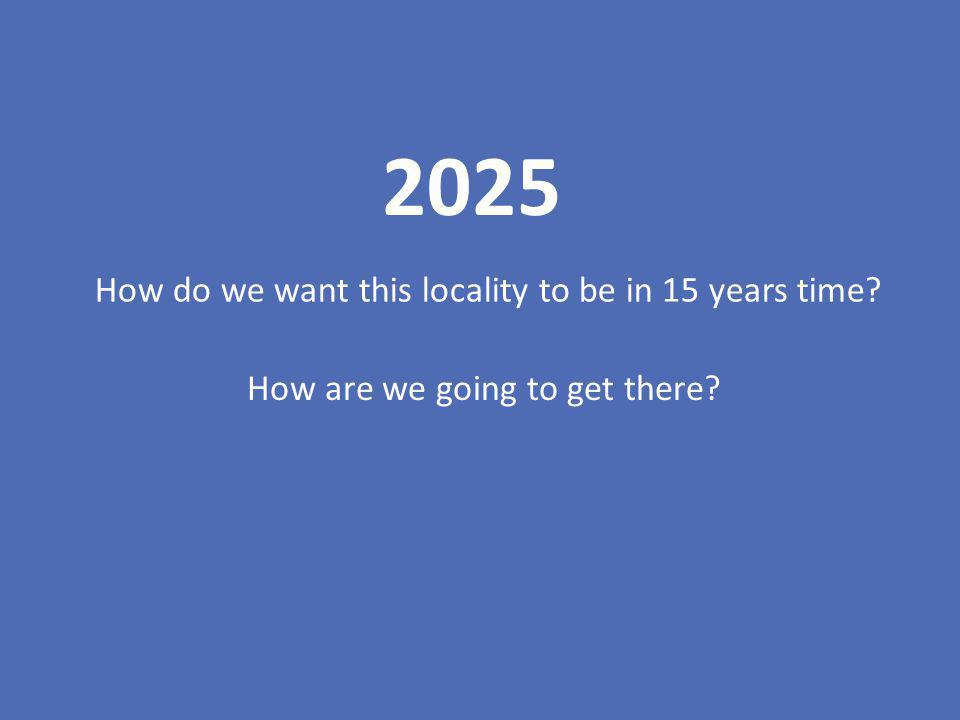 2025 How do we want this locality to be in 15 years time? How are we going to get there?
