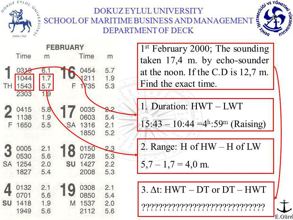 DOKUZ EYLUL UNIVERSITY SCHOOL OF MARITIME BUSINESS AND MANAGEMENT DEPARTMENT OF DECK E.Gürel 1 st February 2000; The sounding taken 17,4 m.