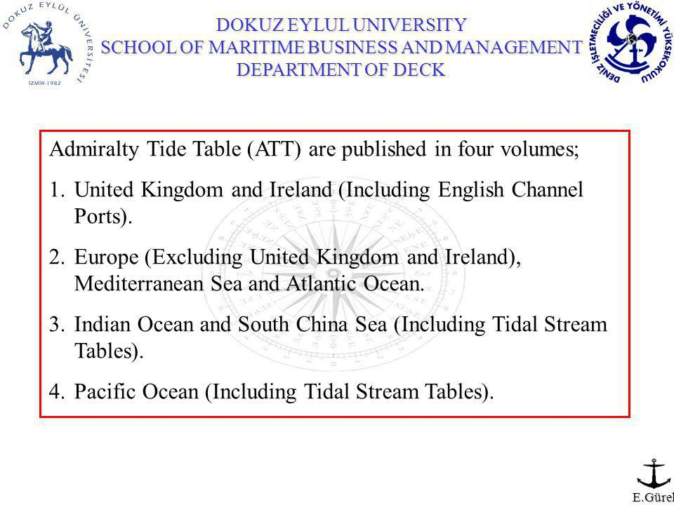 E.Gürel Admiralty Tide Table (ATT) are published in four volumes; 1.United Kingdom and Ireland (Including English Channel Ports).