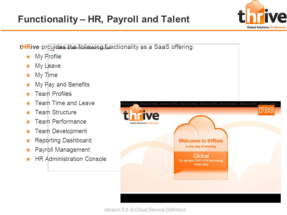 tHRive provides the following functionality as a SaaS offering My Profile My Leave My Time My Pay and Benefits Team Profiles Team Time and Leave Team