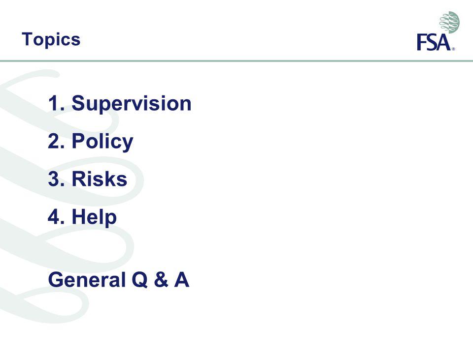 Topics 1.Supervision 2.Policy 3.Risks 4.Help General Q & A