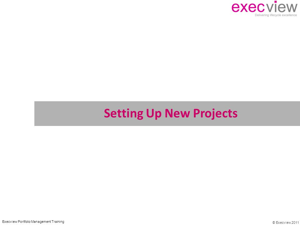© Execview 2011 Execview Portfolio Management Training Setting Up New Projects