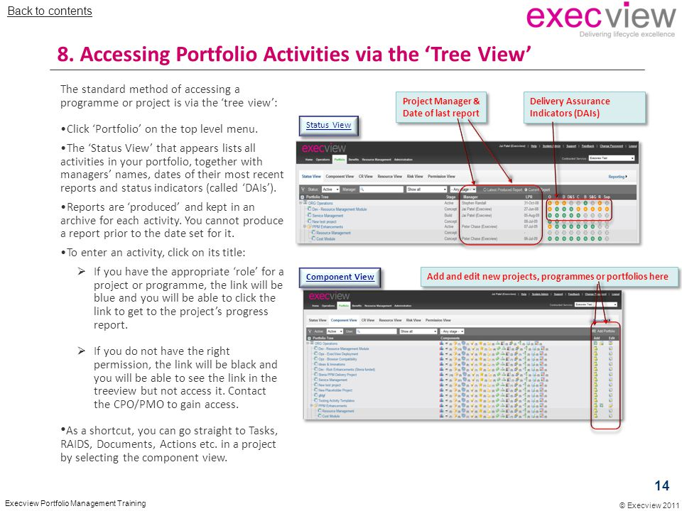 © Execview 2011 Execview Portfolio Management Training The standard method of accessing a programme or project is via the 'tree view': Click 'Portfoli