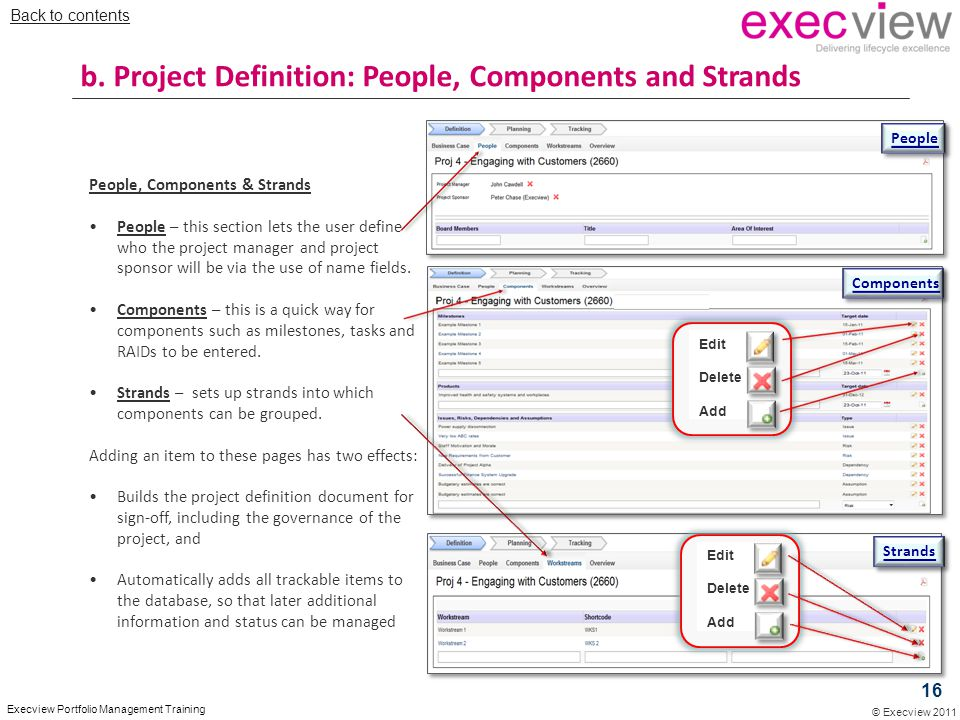 © Execview 2011 Execview Portfolio Management Training People, Components & Strands People – this section lets the user define who the project manager