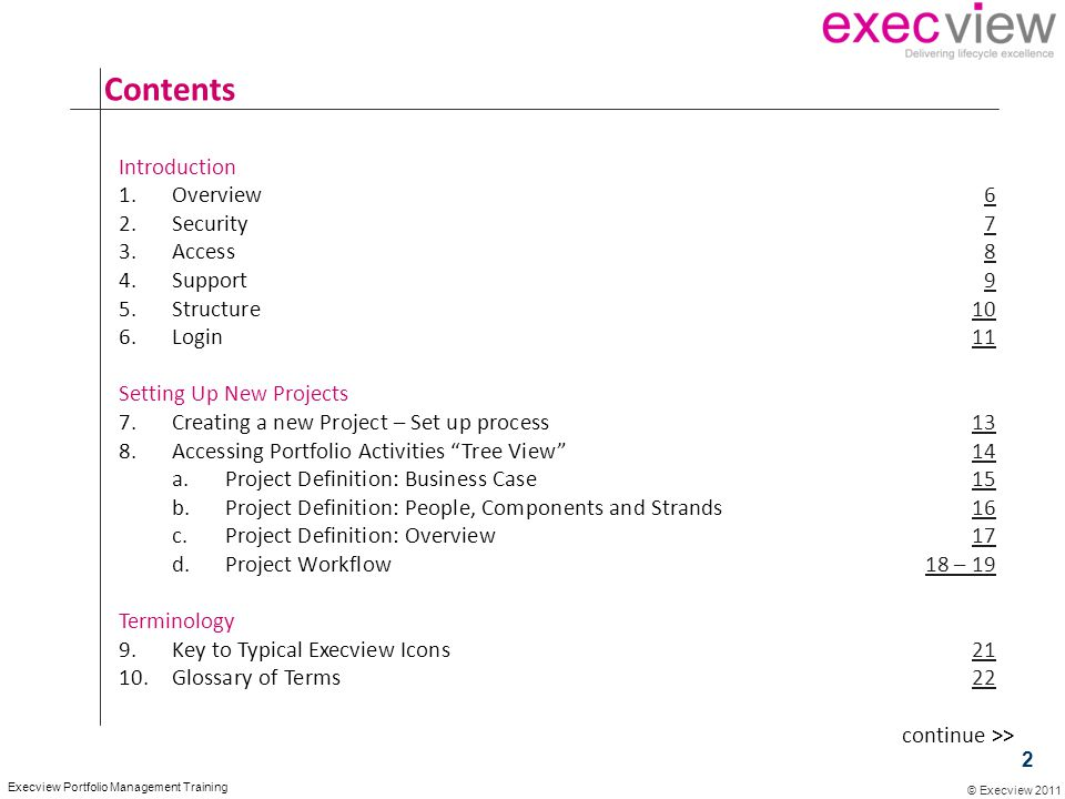 © Execview 2011 Execview Portfolio Management Training Contents Introduction 1.Overview66 2.Security77 3.Access88 4.Support99 5.Structure1010 6.Login1