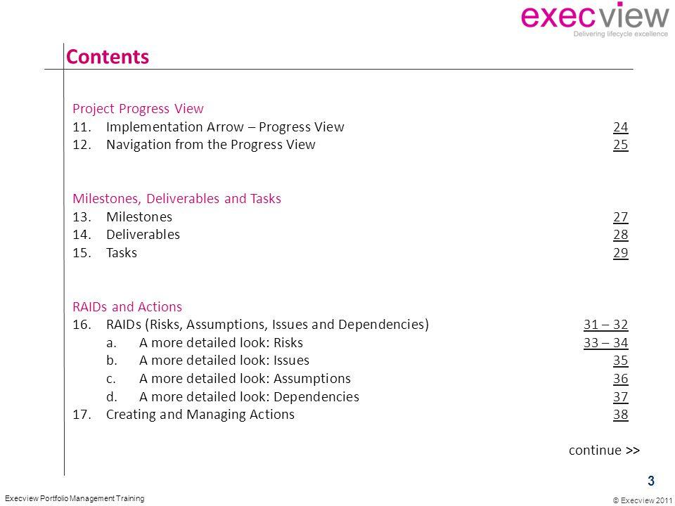 © Execview 2011 Execview Portfolio Management Training Contents Project Progress View 11.Implementation Arrow – Progress View2424 12.Navigation from t