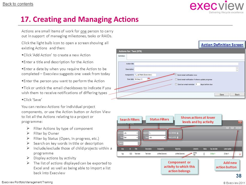 © Execview 2011 Execview Portfolio Management Training Actions are small items of work for one person to carry out in support of managing milestones,