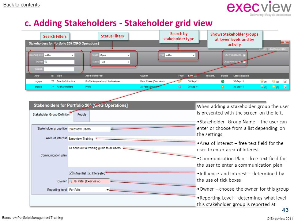 © Execview 2011 Execview Portfolio Management Training When adding a stakeholder group the user is presented with the screen on the left. Stakeholder