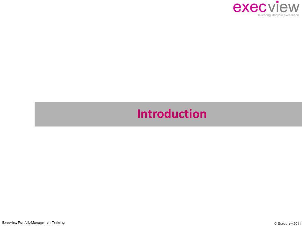 © Execview 2011 Execview Portfolio Management Training Introduction