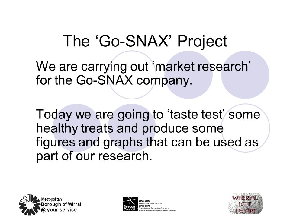 The 'Go-SNAX' Project We are carrying out 'market research' for the Go-SNAX company.