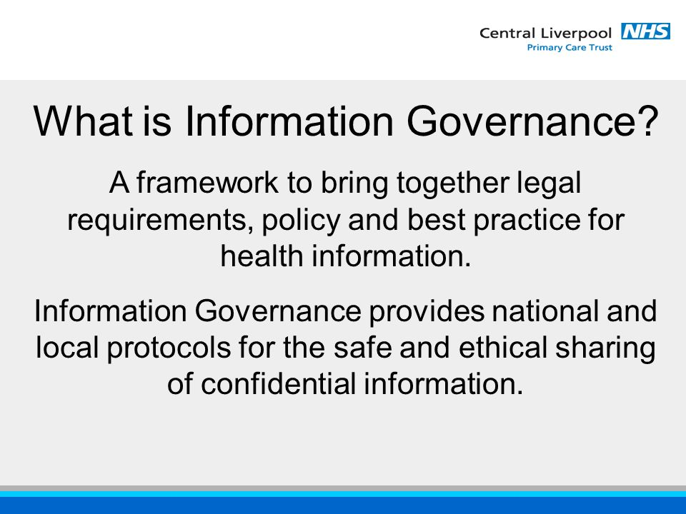 Information Governance Toolkit An online auditing tool produced by the DOH and Information Authority It is:  A mandatory requirement for Acute Trusts for 2003/04 and is an element of the star ratings  A mandatory requirement for PCT's & Mental Health for 2004/05  To be extended to Ambulance Trusts, General Practice and Social Services this year