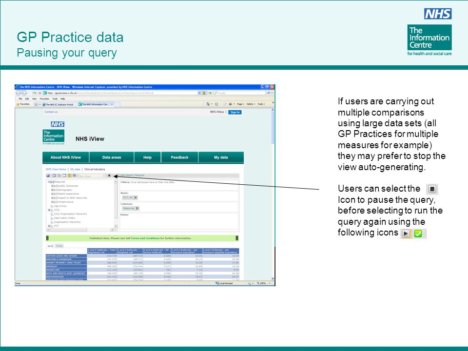 GP Practice data Pausing your query If users are carrying out multiple comparisons using large data sets (all GP Practices for multiple measures for e
