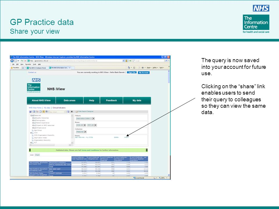 """GP Practice data Share your view The query is now saved into your account for future use. Clicking on the """"share"""" link enables users to send their que"""
