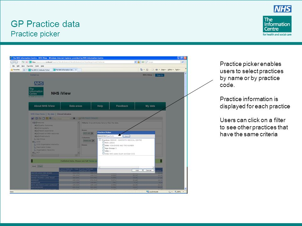 Practice picker enables users to select practices by name or by practice code. Practice information is displayed for each practice Users can click on
