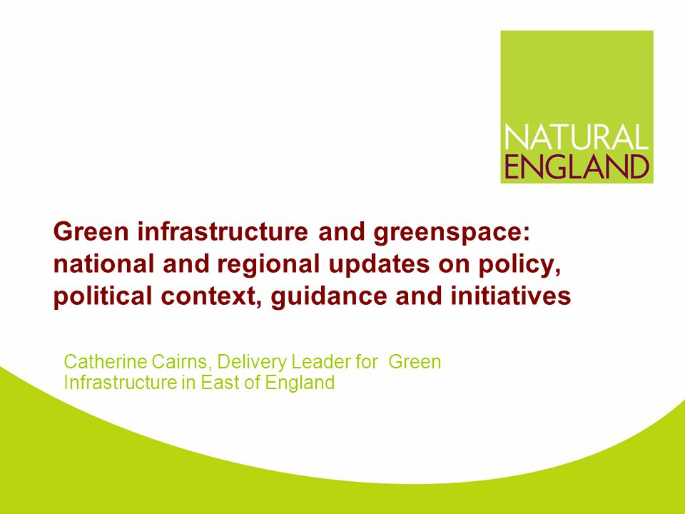 Green infrastructure and greenspace: national and regional updates on policy, political context, guidance and initiatives Catherine Cairns, Delivery L