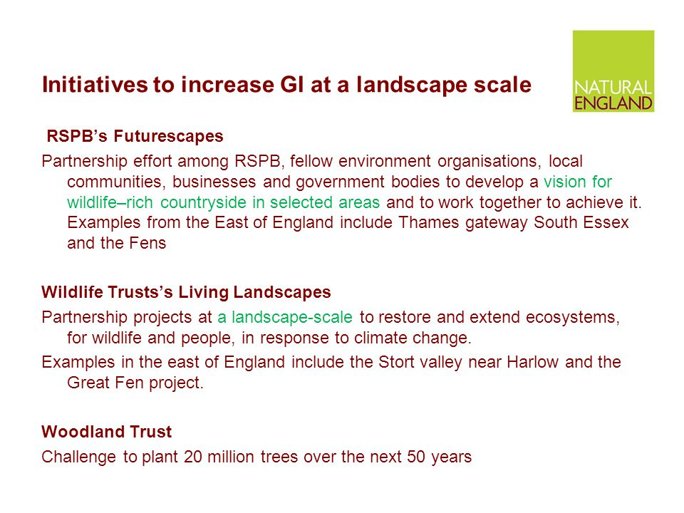 Initiatives to increase GI at a landscape scale RSPB's Futurescapes Partnership effort among RSPB, fellow environment organisations, local communities