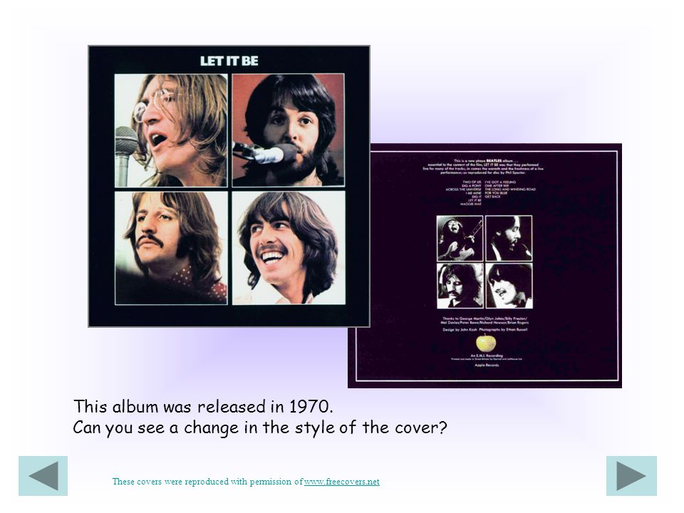 This album was released in 1970. Can you see a change in the style of the cover? These covers were reproduced with permission of www.freecovers.netwww