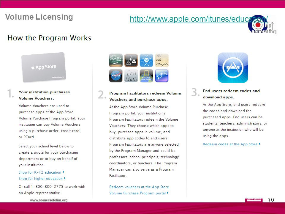 10 http://www.apple.com/itunes/education/ Volume Licensing