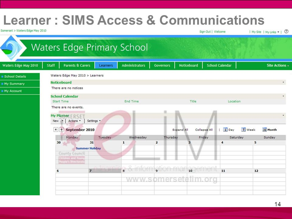 14 Learner : SIMS Access & Communications
