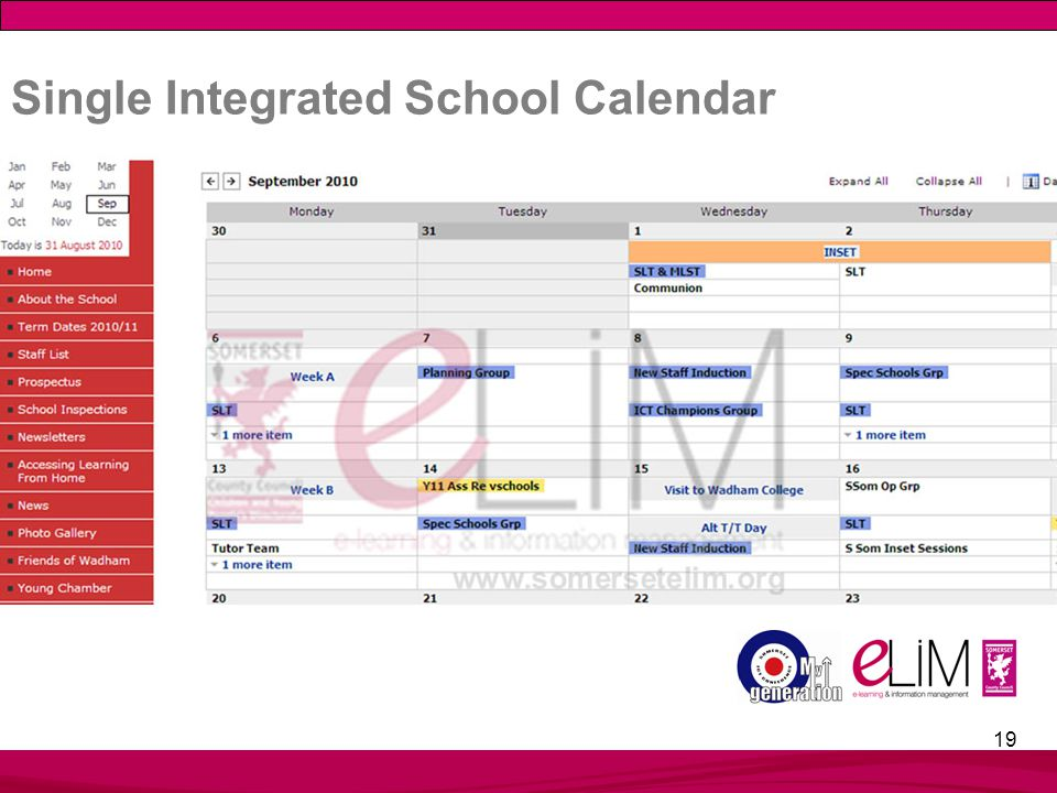 19 Single Integrated School Calendar