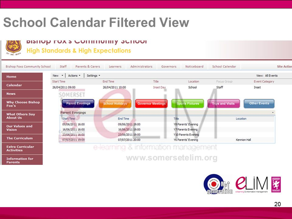 20 School Calendar Filtered View