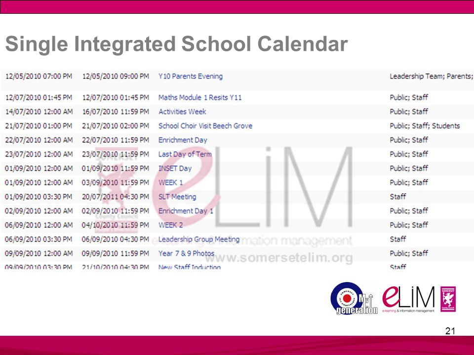 21 Single Integrated School Calendar