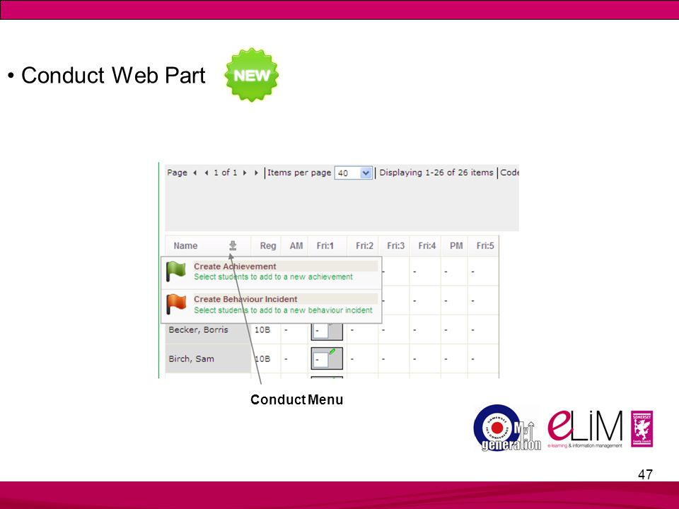 47 Conduct Web Part Conduct Menu