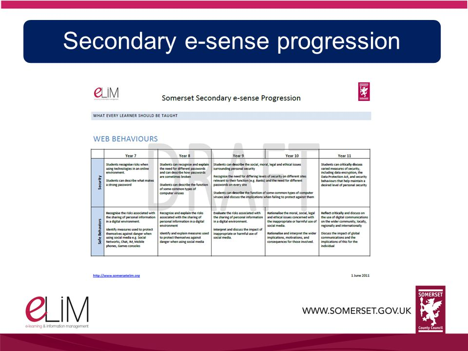 Secondary e-sense progression