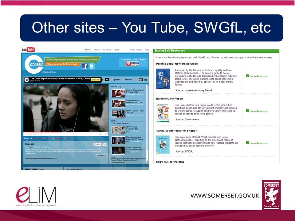 Other sites – You Tube, SWGfL, etc