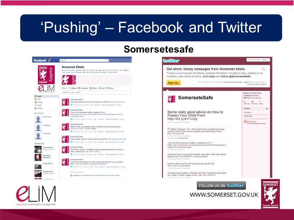 Somersetesafe 'Pushing' – Facebook and Twitter
