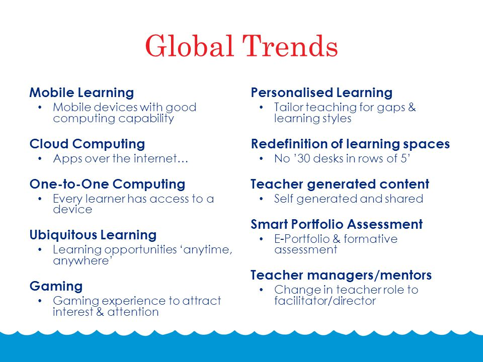 Global Trends Mobile Learning Mobile devices with good computing capability Cloud Computing Apps over the internet… One-to-One Computing Every learner has access to a device Ubiquitous Learning Learning opportunities 'anytime, anywhere' Gaming Gaming experience to attract interest & attention Personalised Learning Tailor teaching for gaps & learning styles Redefinition of learning spaces No '30 desks in rows of 5' Teacher generated content Self generated and shared Smart Portfolio Assessment E-Portfolio & formative assessment Teacher managers/mentors Change in teacher role to facilitator/director