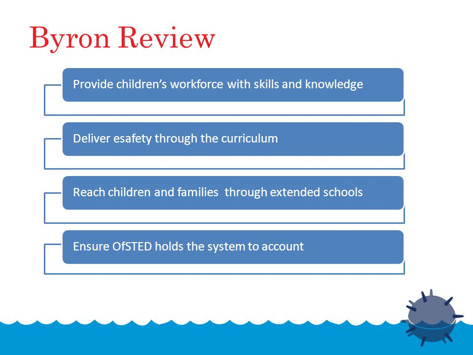 Byron Review Provide children's workforce with skills and knowledgeDeliver esafety through the curriculumReach children and families through extended schoolsEnsure OfSTED holds the system to account