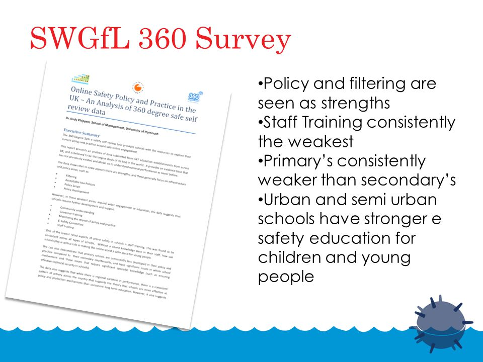 SWGfL 360 Survey Policy and filtering are seen as strengths Staff Training consistently the weakest Primary's consistently weaker than secondary's Urban and semi urban schools have stronger e safety education for children and young people
