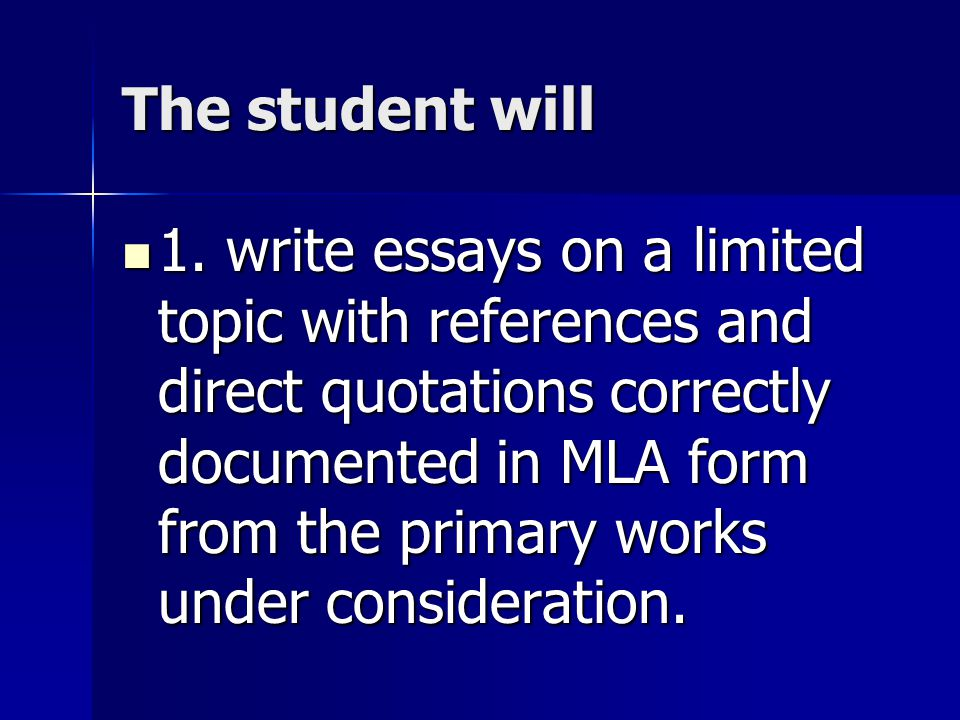 The student will 2.use standard language and mechanics in the composition of essays.